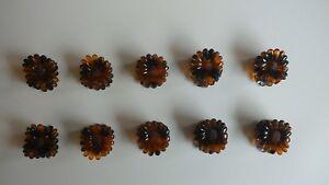 10 Haarkrebse, Blume, 2cm, braun, Mädchen / Damen Haarklammern  NEU ( 3616 )