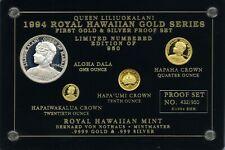 Royal Hawaiian Mint 1994 Queen Liliuokalani Gold & Silver Set Of Medallic Coins