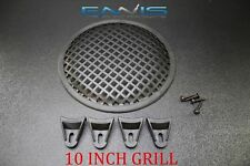 (1) 10 INCH STEEL SPEAKER SUB SUBWOOFER GRILL MESH COVER W/ CLIPS SCREWS GLKT-10