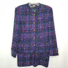 Vintage Herbert Grossman Blazer Skirt Suit Sz 14 Boucle Navy Blue Green Pink USA