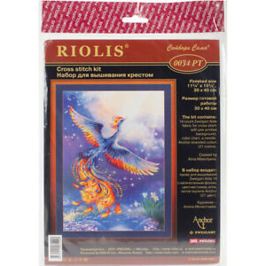 """RIOLIS Stamped Cross Stitch Kit 11.75""""X15.75""""-Bird Of Happiness (14 Count)"""