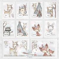 Kinderzimmer Bilder Set Baby Zimmer Bild Wald Tiere Fuchs Reh Natur |DIN A4 |S30