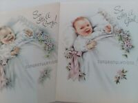 2 Vtg It's A GIRL & It's A BOY 1950s CONGRATULATIONS New Baby GREETING CARDS