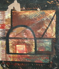1986 Abstract Cubist oil painting signed