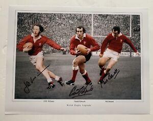 Welsh Rugby Trio- JPR Williams, Gareth Edwards, Phil Bennett Signed Photo £35