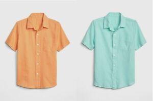 New Gap Kids Boys Linen Blue Orange Short Sleeve Patch Pocket Shirt 8 12