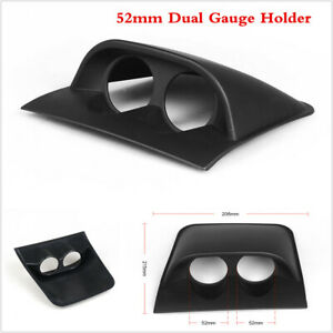 52mm 2'' Universal Car Dual Holes Dashboard Gauge Mount Pod Holder ABS Black