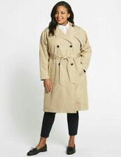 M&S Curve Lightweight Soft Touch Stone Trench Coat Stormwear Size 22 BNWT