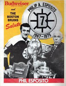 December 3, 1987 Boston Bruins Phil Esposito Night Program NHL