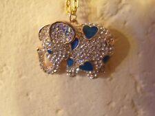 Straß Elefant helle Steine und blaue Email Herzen am Körper goldfarbene Kette 53