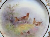 """ROYAL DOULTON SIGNED HART 9½"""" HP BIRDS DISPLAY PLATE RED GROUSE(Ref3486)"""
