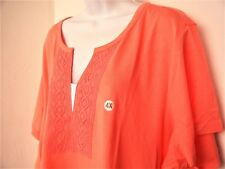 Coral Basic Editions 4X 5X Fabric Inset Short Sleeve Top Tunic Lace Solid Cotton