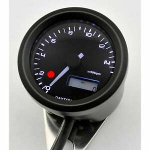 Daytona 48mm Motorcycle 15k tachometer RPM Gauge & Shift Light Black Metal Case
