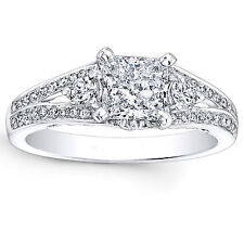 1.16 Ct Diamond Engagement Ring 14K White Gold Round Princess Cut Solitaire 1552