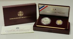 1988 2 coin Olympic proof set silver dollar & $5 gold half eagle #69056