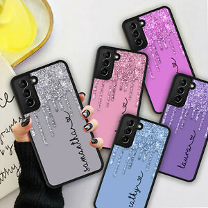 PERSONALISED NAME Glitter HEART Phone Hard Case Cover For Samsung S21 Plus Ultra