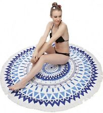 Blue Colored Round Beach Towel