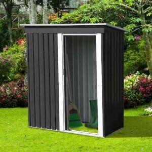 Abri de Jardin Gris Anthracite Acier Galvanisé Cabane à Outils Stockage 181 cm