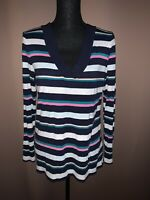 Gap Women's Blue Multi Stripe Long Sleeve V-neck Top Size Large
