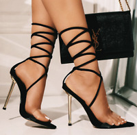 Cape Robbin Nobu Black Lycra Clear Pointed Toe Lace Up Stiletto Heeled Sandal