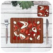 Atomic Boomerang Placemat & Coaster, Red on Teak, Atomic Tableware, MCM set