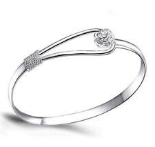 Uk* 925 Silver Plt Ladies Woman Fashion Charm Bracelet / Bangle Bead Rose Flower