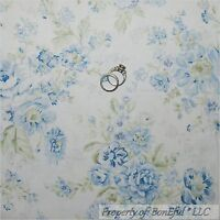 BonEful Fabric FQ Cotton Quilt White Blue L Flower Victorian Cottage Shabby Chic