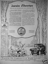 PUBLICITÉ DE PRESSE 1925 MOBILOIL VACUUM OIL COMPANY JOURNÉE D'OUVERTURE CHASSE