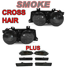 Smoke Euro Smiley Crosshair Headlight+Bumper+Side Marker Light For 89-91 BMW E30