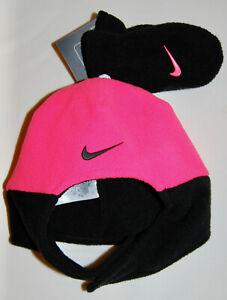 NWT Nike Infant Girls Racer Pink & Black Fleece Hat and Mittens Set sz Infant