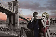 JAMES DEAN & MARILYN MONROE - CONSANI ART POSTER - 24x36 BROOKLYN BRIDGE NY 3154