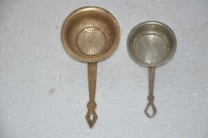 2 Pc Old Brass Handcrafted Perforated Tea Strainer , Rich Patina