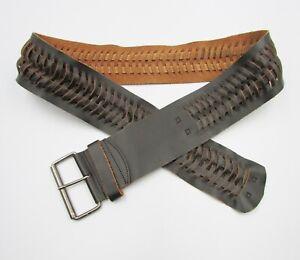 Portmans Size M Dark Brown Genuine Leather Wide Woven Fish Braided Belt
