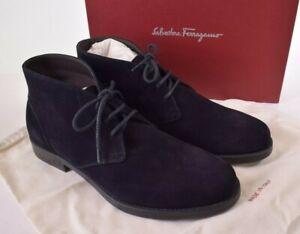 Salvatore Ferragamo NWB Sachie2 Chukka Boots Size 11 E In Dark Blue Suede $575