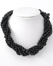 """16"""" Classic Faux Black Pearl Twist Necklace w/Magnetic Clasp - Gift Boxed"""