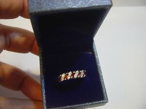 BEAUTIFUL SOLID SILVER BAND RING-GARNETS & WHITE TOPAZ ETERNITY QUALITY-SIZE O