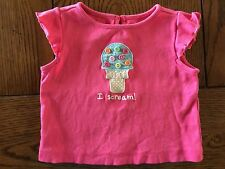 *GYMBOREE* Girls POPSICLE PARTY I Scream! Button Ice Cream Cone Top 3-6 Months