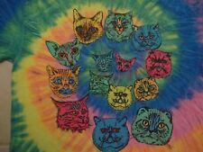 Cat Faces Tie-Dye Rainbow T Shirt Size L