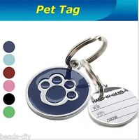 Personalised Metal Engraved Paw Print With Tab-Tag for Dog Cat Pets ID Tags ILJ