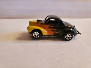 WILLYS FLAMED COUPE T JET HO SLOT CAR,ULTRA G CHASSIS, NEW CHROME RIMS, TIRES