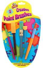 Kids 5 X Creative Sponge Paint Glue Brushes Set Art Craft Painting -