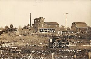 ARMADA Michigan postcard Macomb County RPPC farming steam tractor Pesha photo