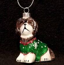 Mercury Glass Shih Tzu Dog In Green Sweater Christmas Ornament - Nwt