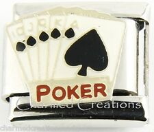 9mm Italian Charm Link Royal Flush Poker Gold Cards Las Vegas Gambling Casino