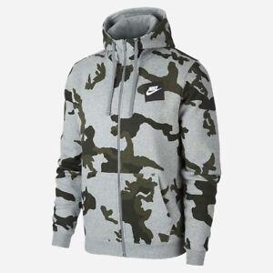 Men's New Nike Camo Fleece Zip Hoodie Hoody Hooded Sweatshirt Jumper Pullover