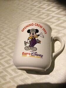 RARE mug souvenir ouverture EURO DISNEY opening crew 1992 mickey sur céramique