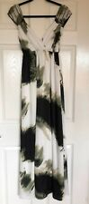 Traffic People Maxi Dress Size XS Grecian White Black Green Taupe Abstract Long