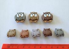 Owl Novelty Buttons Lot Craft Supplies 3 Large 5 Small Owls Shank Dress It Up