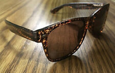 Brown Blues Brother Style Sunglasses with Houndstooth Design and Dark Lenses