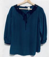 LC Lauren Conrad Disney Snow White Size Medium Womens Front Tie Neck Blue Black
